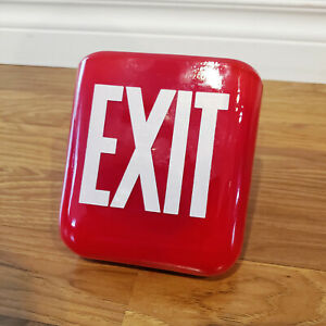 1930s Ruby Red Exit Sign Shade Two Sided Theater Exit Glass Sign