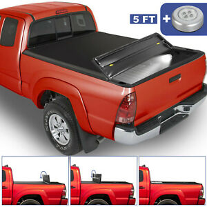 5ft 3 Fold Truck Bed Tonneau Cover Soft Folding For 2005 2015 Toyota Tacoma