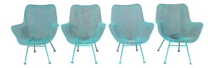 Russell Woodard Sculptural Chairs Mid Century Modern 1950 S Lot Of 4 Turquoise