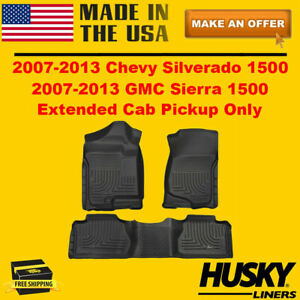 Husky Liners Front Rear Floor Mats For 2007 2013 Chevy Silverado Extended Cab