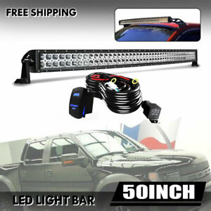50inch Roof Led Light Bar 288w Combo Spot Flood Fog For 4x4wd Ute Boat C1h