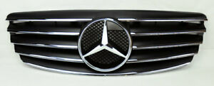 5 Fin Front Hood Black Chrome Grill Grille For Mercedes E Class W211 03 06