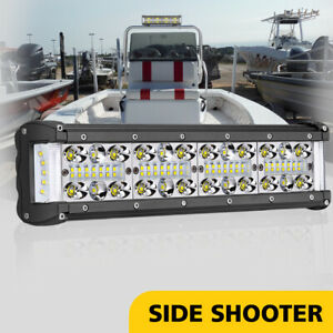 12inch Cree Led Work Light Bar Side Shooter Quad Row Spot Flood Driving Off Road