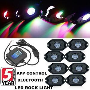 Auxbeam 8 Rgb Led Rock Light App Control Offroad Truck Boat Wireless Bluetooth