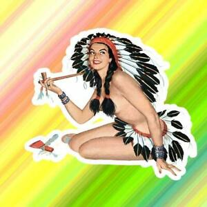 Indian Girl Peace Pipe Vinyl Decal Sticker Vintage Pinup Retro Art Garage Tool