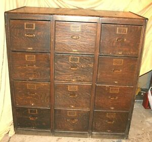 Library Bureau Sole Makers A Set Of Three 4 Drawer Vintage Wooden File Cabinets