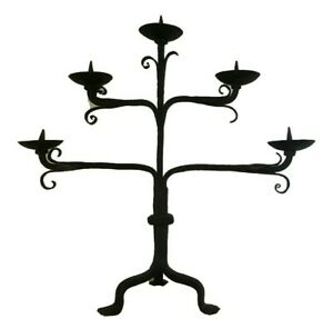 Antique French Victorian Wrought Iron Gothic Altar Church Candelabra 19th C