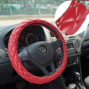 38cm Universial Car Steering Wheel Cover W Rhinestone Pu Leather Red Us Stock