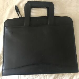 Scully Leather Black Italian Leather 3 ring Binder Or Portfolio W Handles