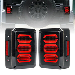 Led Smoked Tail Lights Rear Brake Reverse Turn Signal For 07 18 Jeep Wrangler Jk
