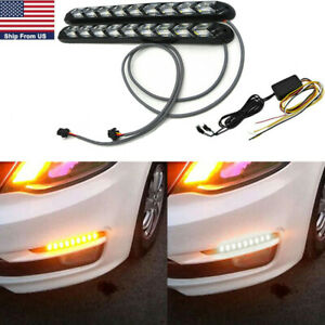 2x Led Amber white Switchback Flowing Strip Arrow Flasher Drl Turn Signal Light