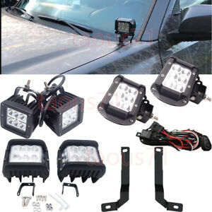 Fit 2016 up Toyota Tacoma Lower Windshield Hood Ditch Led Light Pod Bracket Kits