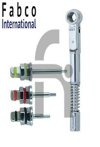 Dental Implant Universal Torque Wrench 10 50 Ncm With Hex Drivers 1 25mm