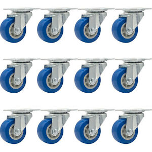 Lot Of 12 1 5 Low Profile Casters Wheels Soft Rubber Swivel Caster Blue