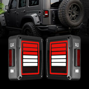 6 Bars Led Tail Lights Brake Reverse Turn Signal For 07 18 Jeep Wrangler Jk Jku
