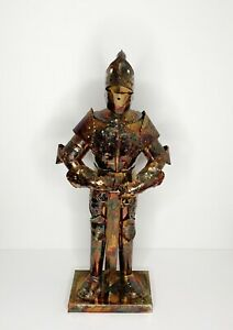 Vintage 22 5 Tall Tin Metal Medieval Knight In Armour Statue Sculpture Figure