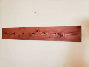 36 Long Vintage Looking Hanging Drying Peg Rack Barn Red Stained Huge Nails