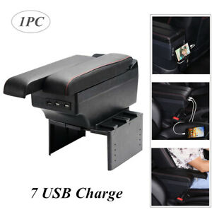 1pc Universal Car Dual Layer Storage 7 Usb Charge Central Armrest Box Cup Holder