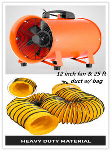 12 Extractor Fan Blower Portable 8m Duct Hose W bag Fume Ventilation Exhaust