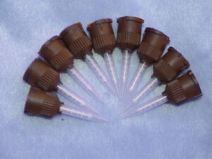 100 Pcs Hp Impression Brown Temporary Cement Dental Mixing Tips