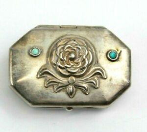 Vintage Handmade Signed Ra Sterling Silver Trinket Box With Turquoise Stones 51g