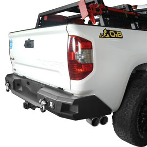 For Toyota Tundra 14 19 Rear Bumper Heavy Duty Steel With Led Light