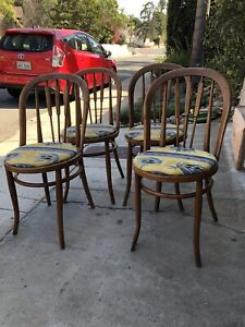 Antique Country Bentwood Woid Chairs Set 4 Handmade