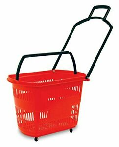 Plastic Easy pull Rolling Shopping Basket With Long Durable Handle Red