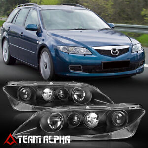 Fits 2003 2005 Mazda 6 Mazda6 Black Clear Projector Headlight Headlamp W O Fog