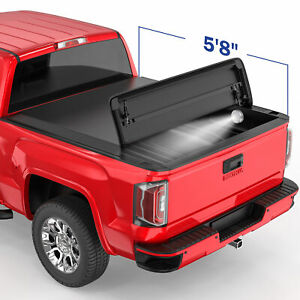 4 Fold 5 8ft Soft Fold Truck Bed Tonneau Cover For 14 19 Chevy Silverado 1500