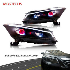 Set 2 Led Headlights Drl Projector With Demon Eyes For 2008 2012 Honda Accord