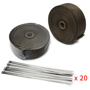 2x Rolls Thermal Header Pipe Tape Titanium Lava Exhaust Wrap 2 x 50ft Ties Kit