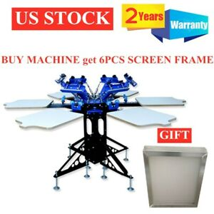 Us Stock 6 Color 6 Station T shirt Press Silk Screen Printing Machine With Frame