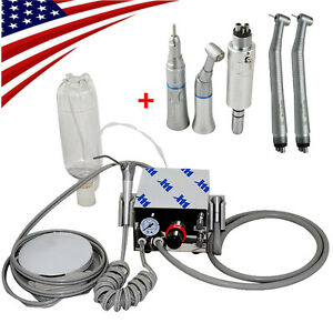 Dental Portable Air Turbine Unit No Compressor 4 Hole High Low Speed Handpiece