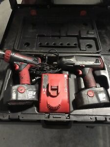 Snap on Snap On Cordless 18v Drill Impact 2 Batteries Charger And Case