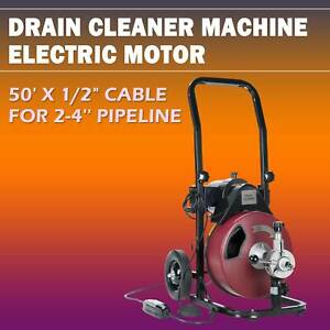 1 2 50ft Drain Auger Pipe Cleaner Machine Sewer Snake Drill Drain Auger Cleaner