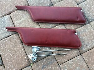 Oem Ford Sun Visors 1969 Mustang Mach 1 Rare Burgundy Color With Hardware