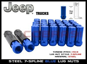 Blue 7 Spline Lug Nuts 20pc 2key 2011 2019 Jeep Grand Cherokee Trailhawk
