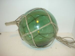 Vintage Glass Fishing Float Blue Green 8 With Rope Net