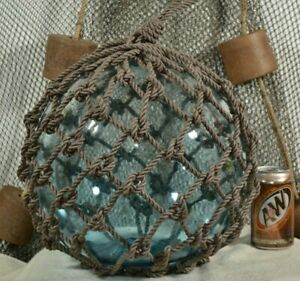 Vintage Glass Fishing Float In Light Aqua