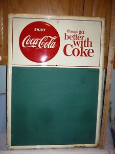 1954 ? COCA COLA SODA METAL BUTTON SIGN MENU FOOD COUNTRY CHALK BOARD