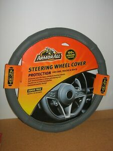 Armor All Genuine Leather Gray Steering Wheel Grip Cover Universal Fit Free Ship