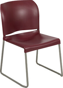 Heavy Duty Burgundy Stack Office Chair With Sled Metal Base Waiting Room Chair