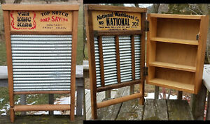 Vtg Zinc King National Washboard Cabinet Shelf Rustic Cupboard Country Decor