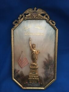 Antique Convex Glass Metal Framed The Statue Of Liberty