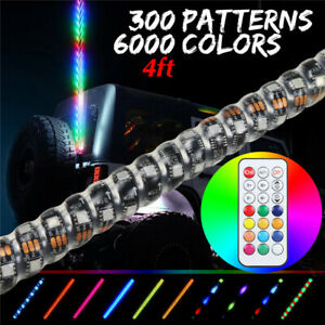 4ft Chasing Light Spiral Led Whip Antenna W Flag Remote 6000 Colors 300 Mode