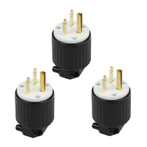 3pcs Rugged 6 15p Grounding Locking Plug For Generator Socket Nylon Housing