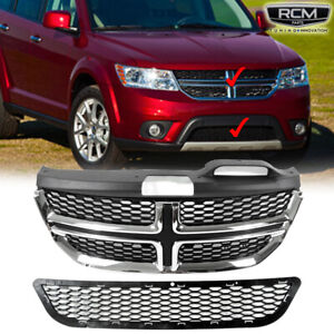 For 11 14 Dodge Journey Front Upper Grill Chrome Lower Black Grille Rt Style