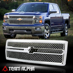 Fits 2014 2015 Chevy Silverado 1500 X Mesh Chrome Abs Bumper Grille Vent Grill