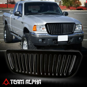 Fit 2004 2005 Ford Ranger vertical bar glossy Black Abs Bumper Grille Vent Grill
